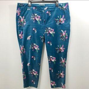 Gorgeous teal velvet floral Boden ankle pants EUC